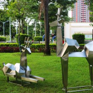 Modern Metal Art Stainless Steel Deer Sculpture