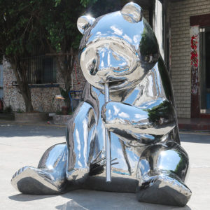 Stainless steel panda sculpture