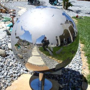 Continent Sandblasted Steel Sphere Globe