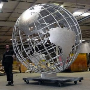 Large-outdoor-world-globe-metal-stainless-steel