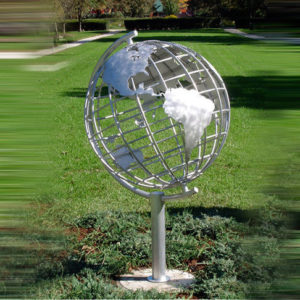 Decorative Stainless Steel Sculpture With Semi - Meridian Globe Shape