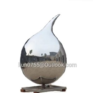 3m Polishing 304 Stainless Steel Water Drop Art Garden Sculpture