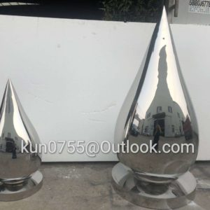 600mm 316L Outdoor landscape metal sculpture mirror polishing water drop stainless steel sculpture