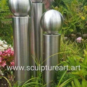 Edelstahl Saulen Set V2a Saule 40 50 60cm Mit 150mm Edelstahlkugel Garten Deko Gartenkugeln