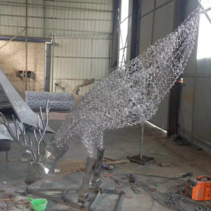 Handwork Metal Outdoor Garden Decor 304 Stainless steel deer wire sculpture