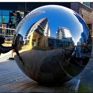 Modern garden 2M stainless steel hollow ball sculpture