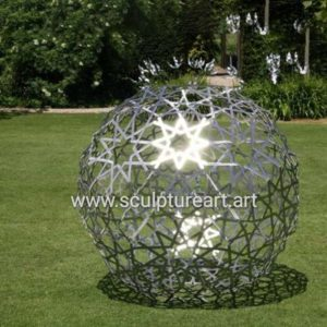 Outdoor Decor Stainless Steel Sculpture Sphere Metal Flat Ball Sculpture