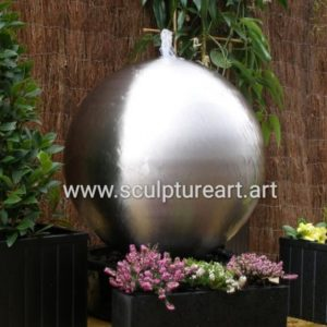 Stainless Steel Sphere Water Fountain LED Lights