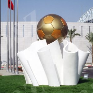 Stainless Steel Urban Art Football Sculpture For School Decoration
