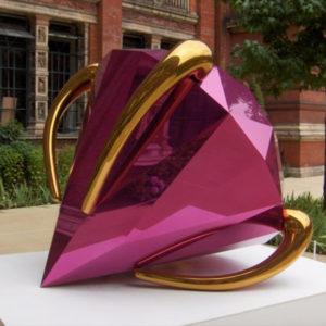 artwork outdoor Modern garden Blue Diamonds shiny modern stainless steel sculpture