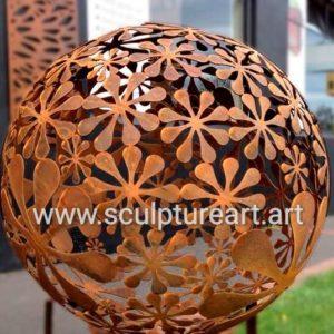 garden decoration rust metal sphere sculpture