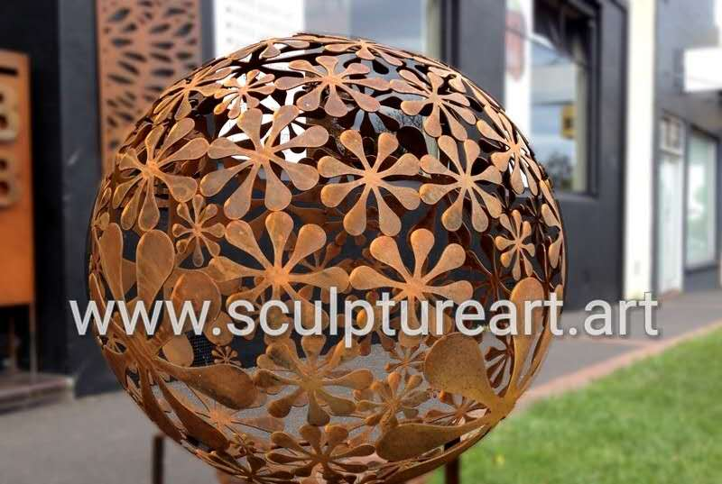 garden decoration rust metal sphere sculpture
