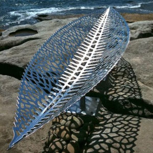 modern art sea stainless steel steel leaf sculpture