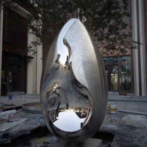 600mm egg shape stainless steel oval sphere sculpture