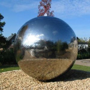 garden decor stainless steel sphere water fountain with a base