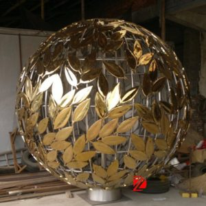 Leaf Art Golden Stainless Steel Hollow Sphere