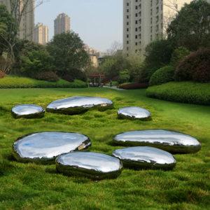 garden landscaping outdoor metal stainless steel stone sculpture